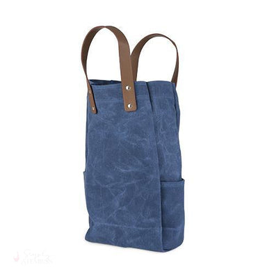 Waxed Canvas Double-Bottle Wine Bag-Wine Totes-Simply Stemless