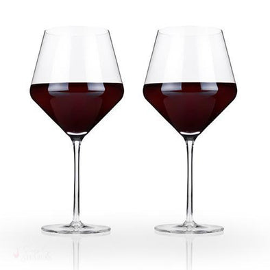 Angled Crystal Burgundy Glasses-Drinkware-Simply Stemless
