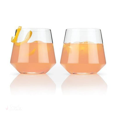 Angled Crystal Cocktail Tumblers-Drinkware-Simply Stemless