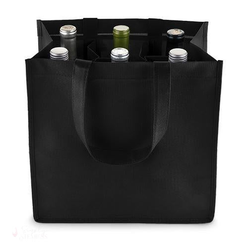 6 Bottle Non Woven Tote In Black-Wine Totes-Simply Stemless