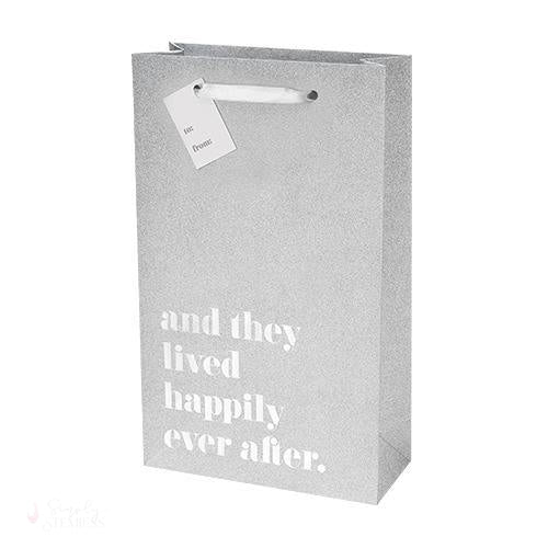 Happily Ever After Silver Double Bottle Bag-Paper Wine Bags-Simply Stemless