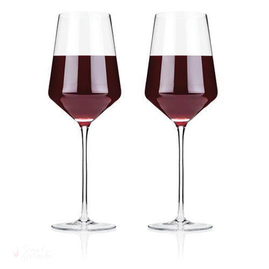Angled Crystal Bordeaux Glasses-Drinkware-Simply Stemless