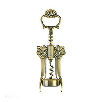 Brushed Brass Filigree Winged Corkscrew-Corkscrews-Simply Stemless