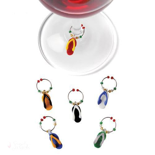 Flip Flop: Glass Wine Charms-Wine Glass Charms-Simply Stemless