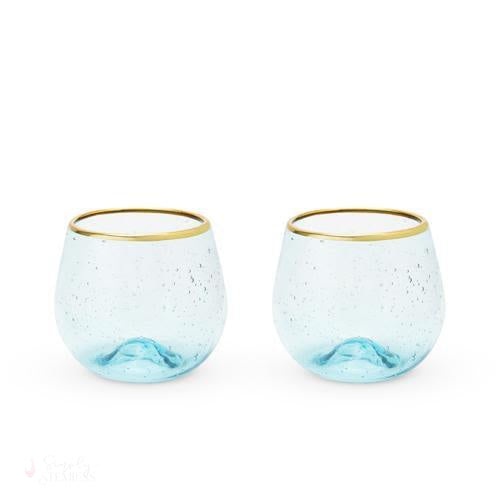 Aqua Bubble Stemless Wine Glass (Set of 2)-Drinkware-Simply Stemless
