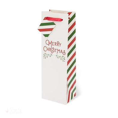 Merry Christmas Single-bottle Wine Bag-Paper Wine Bags-Simply Stemless