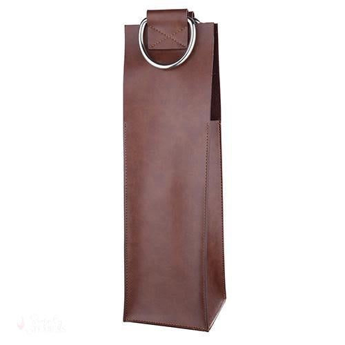 Brown Faux Leather Single-Bottle Wine Tote-Wine Totes-Simply Stemless