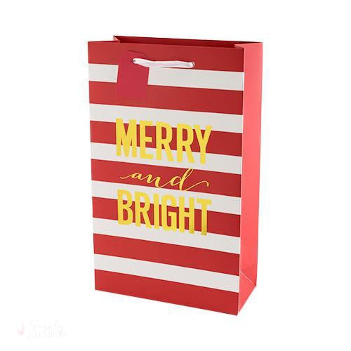 Merry and Bright Stripes Double Bottle Bag-Paper Wine Bags-Simply Stemless