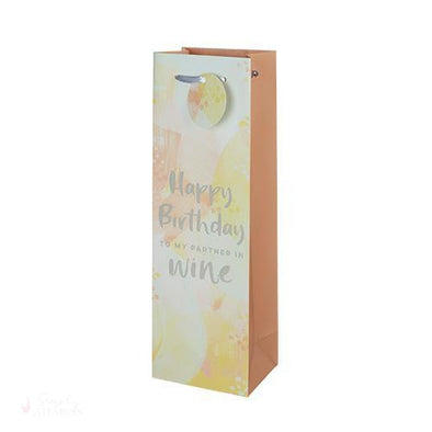 Happy Birthday To My Partner In Wine Single-Bottle Wine Bag-Paper Wine Bags-Simply Stemless