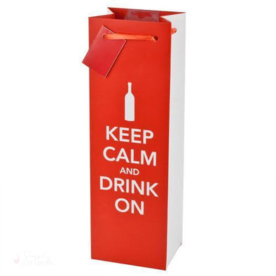 Keep Calm and Drink On Wine Bag-Paper Wine Bags-Simply Stemless