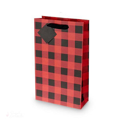 Buffalo Check Double-Bottle Wine Bag-Paper Wine Bags-Simply Stemless