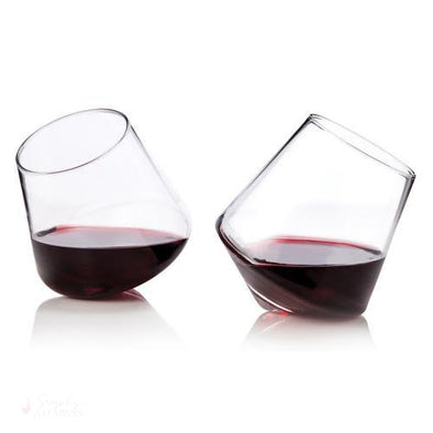 Rolling Crystal Stemless Wine Glasses (Set of 2)-Drinkware-Simply Stemless