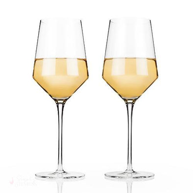 Angled Crystal Chardonnay Glasses-Drinkware-Simply Stemless