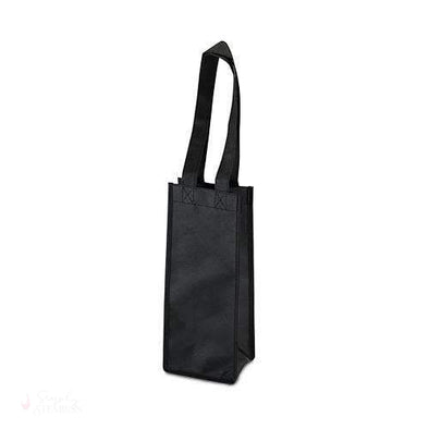 1 Bottle Non Woven Tote in Black-Wine Totes-Simply Stemless