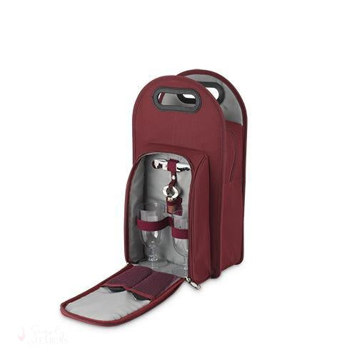 Metro: 2-Bottle Tote in Burgundy & Grey-Insulated Carriers-Simply Stemless