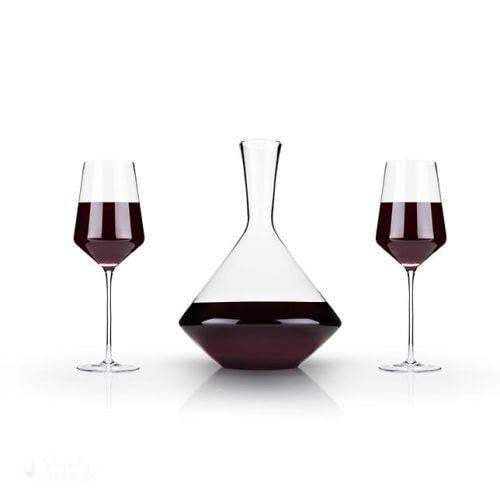 3-Piece Angled Crystal Bordeaux Set-Decanter-Simply Stemless