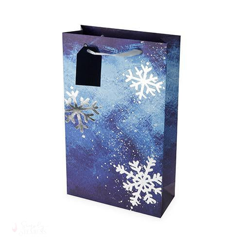 Brushed Snowflake Double-Bottle Wine Bag-Paper Wine Bags-Simply Stemless