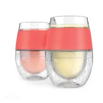 Wine FREEZE Cooling Cups - Coral (Set of 2)-Temperature Regulating-Simply Stemless