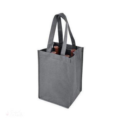 4 Bottle Non Woven Tote in Grey-Wine Totes-Simply Stemless
