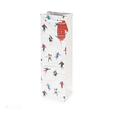Holiday Skaters Single-Bottle Wine Bag-Paper Wine Bags-Simply Stemless