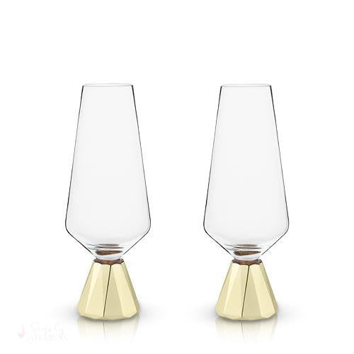 Spire Crystal Champagne Flutes-Drinkware-Simply Stemless