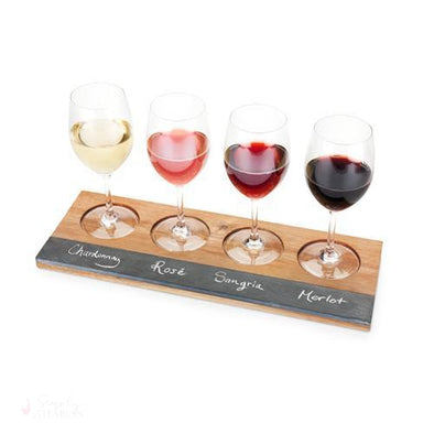 Acacia Wood Wine Flight Board-Tabletop-Simply Stemless