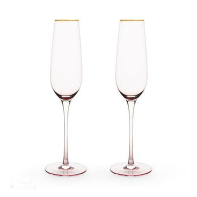 Rose Crystal Champagne Flute Set-Drinkware-Simply Stemless