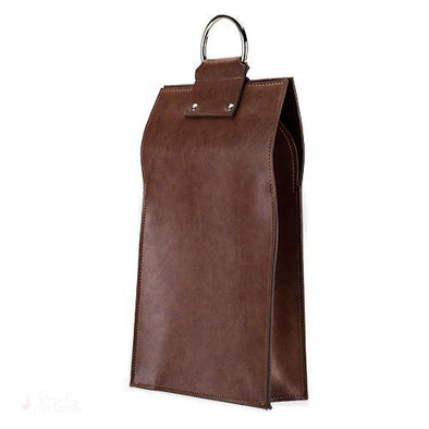 Brown Faux Leather Double-Bottle Wine Tote-Wine Totes-Simply Stemless
