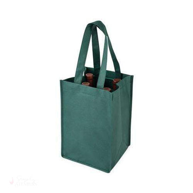 4 Bottle Non Woven Tote in Green-Wine Totes-Simply Stemless