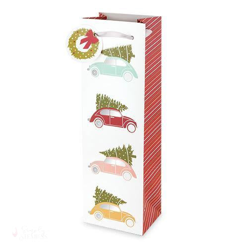 Christmas Tree Cars Wine Bag-Paper Wine Bags-Simply Stemless