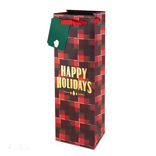 Plaid Happy Holidays 750ml Bottle Bag-Paper Wine Bags-Simply Stemless
