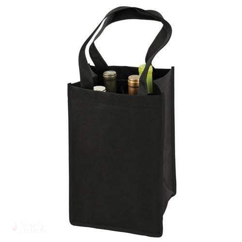 4 Bottle Non Woven Tote In Black-Wine Totes-Simply Stemless