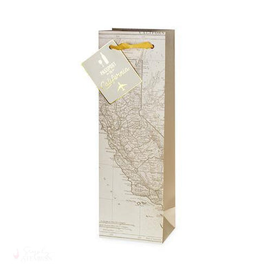 California Wine Map Single-Bottle Bag-Paper Wine Bags-Simply Stemless