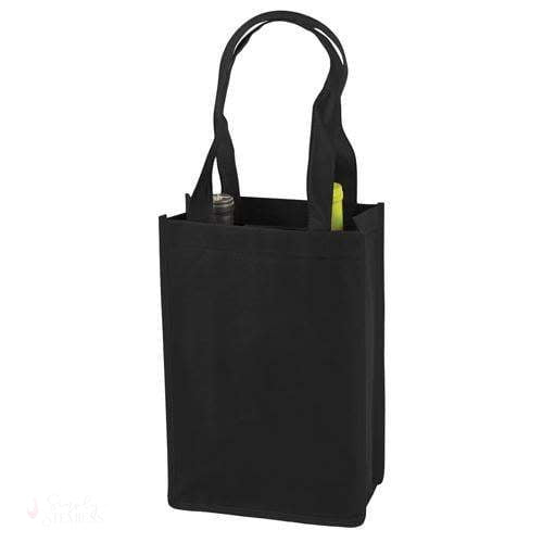 2 Bottle Non Woven Tote In Black-Wine Totes-Simply Stemless