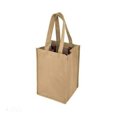 4 Bottle Non Woven Tote in Beige-Wine Totes-Simply Stemless