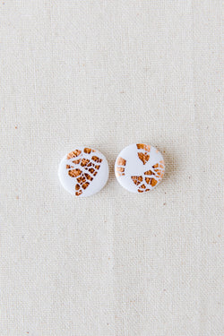 Galaxy stud earrings (white + rose gold)