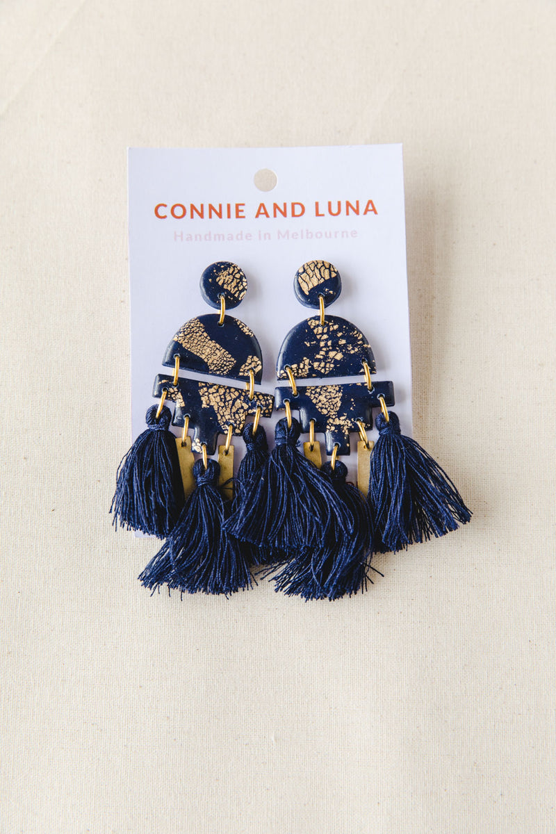Constellation Large Tassel Dangle Earrings (navy)