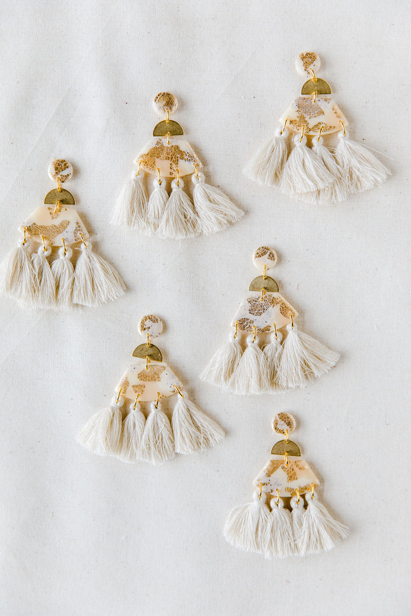 Sundance Large Tassel Dangle Earrings (cream)
