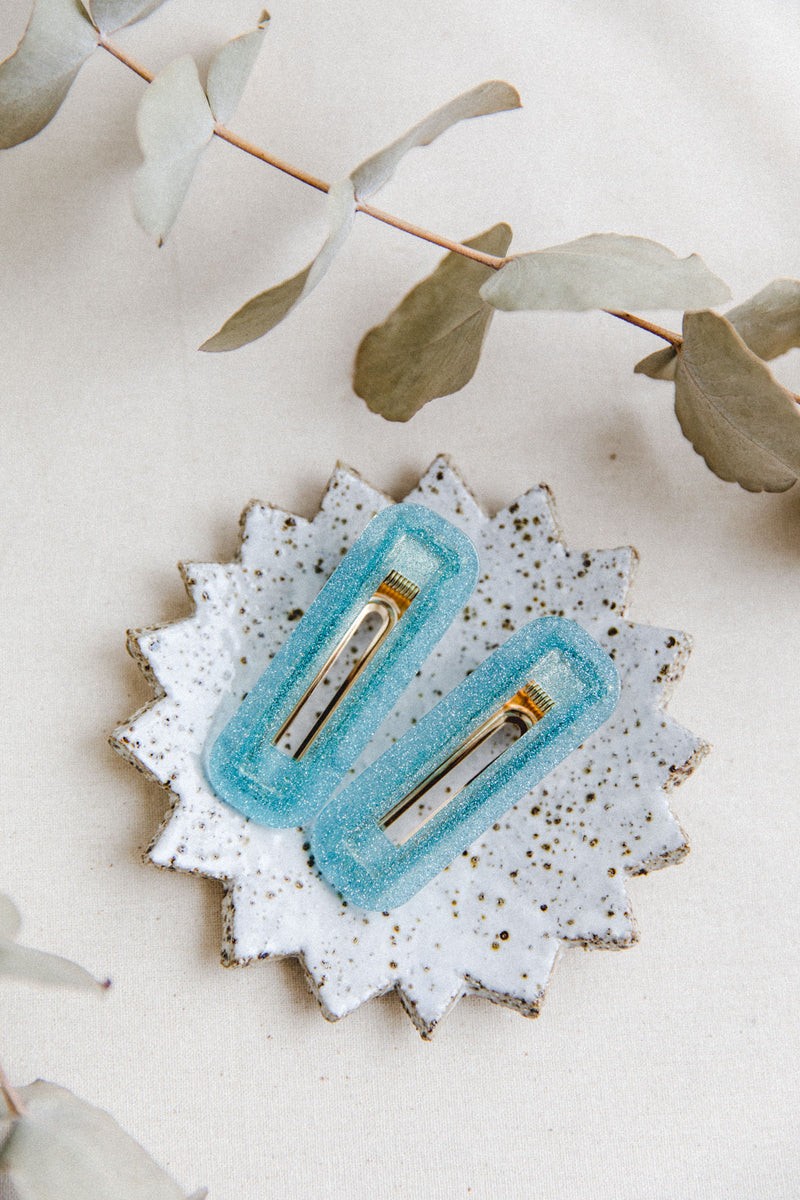 Poppy hair clip pair (blue)