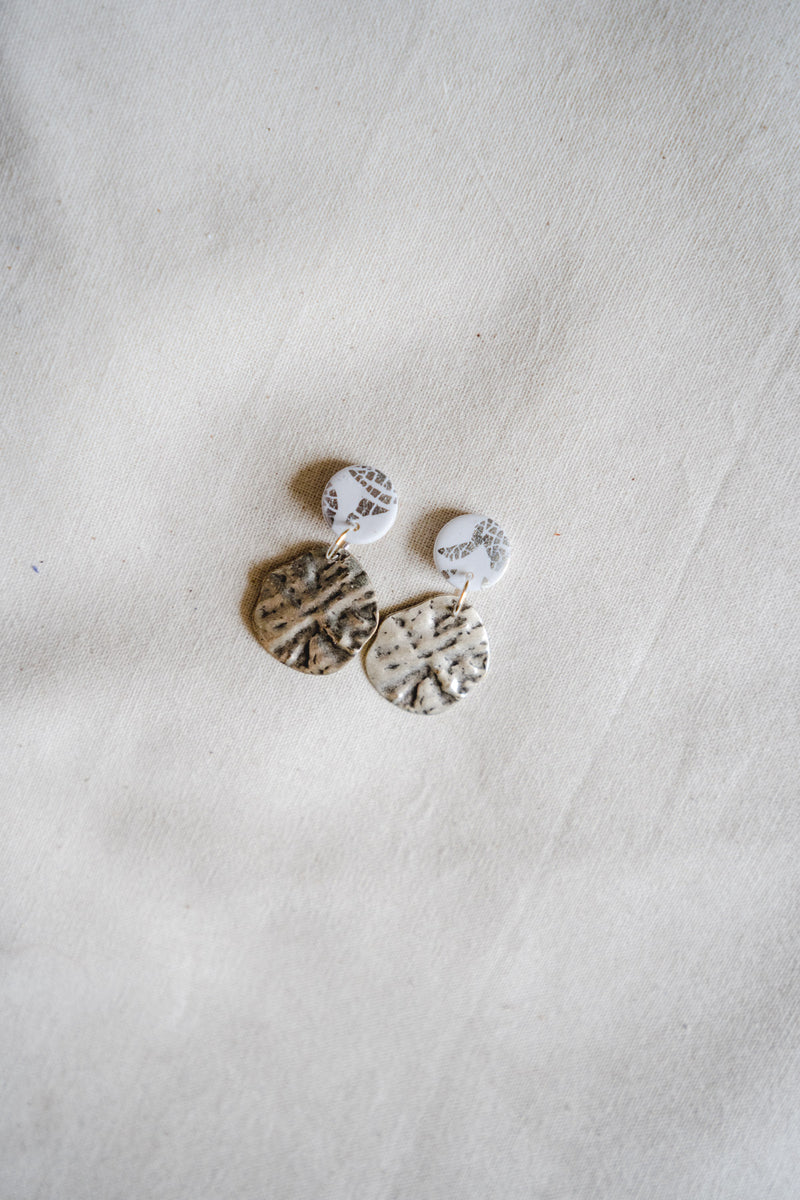 Lulu Small Dangle Earrings (silver plated + white)