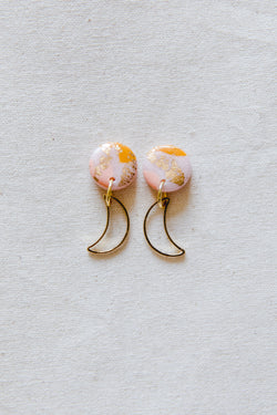 Moon rise gold small dangle earrings (pink + orange)