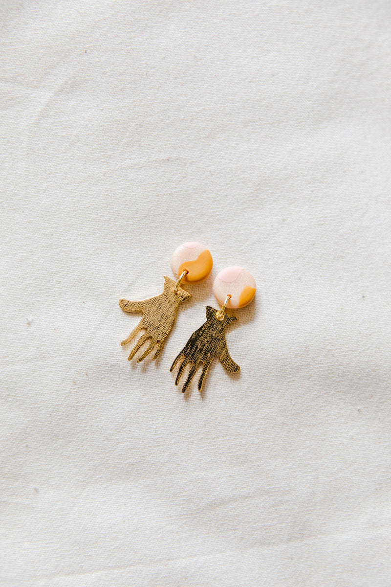 Hands Small Dangle Earrings (pink desert)