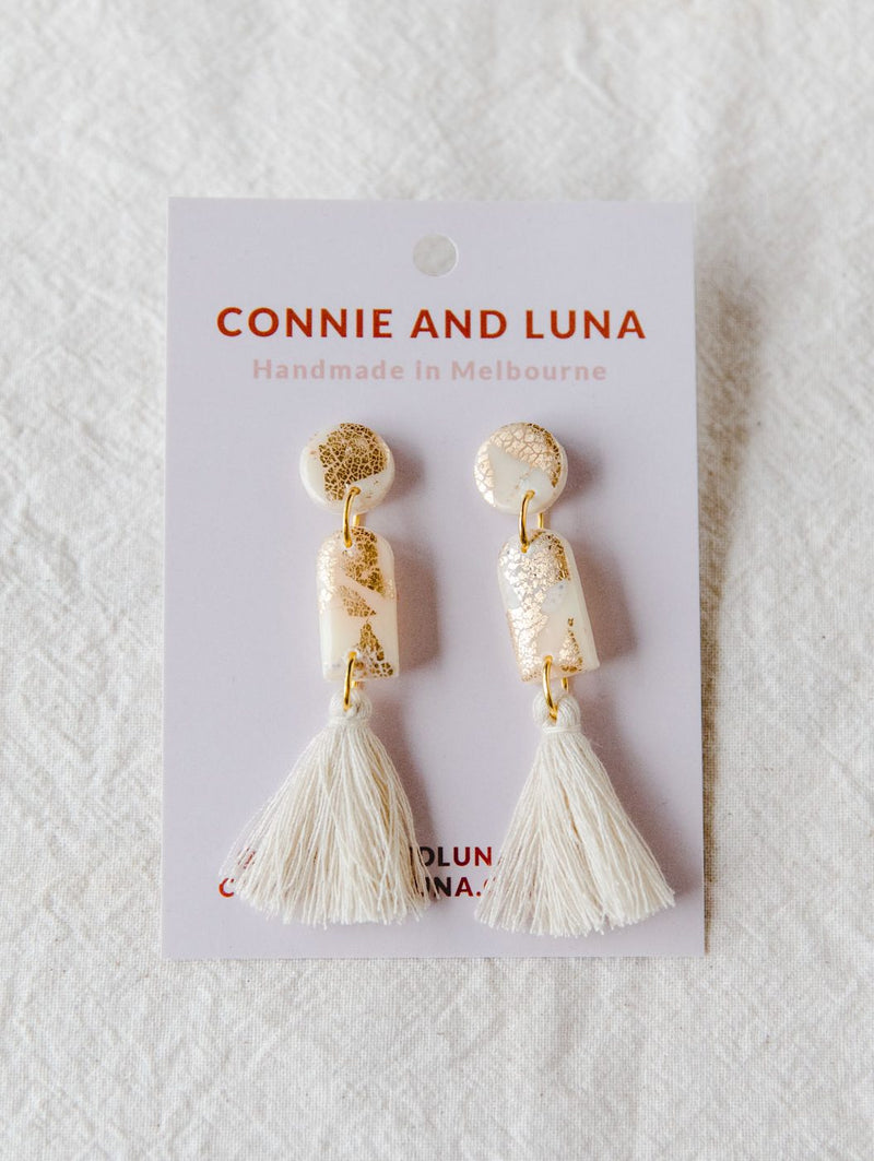 Folk Medium Tassel Earrings (cream)