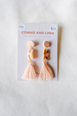 Folk Medium Tassel Earrings (peach) [stirling silver posts]