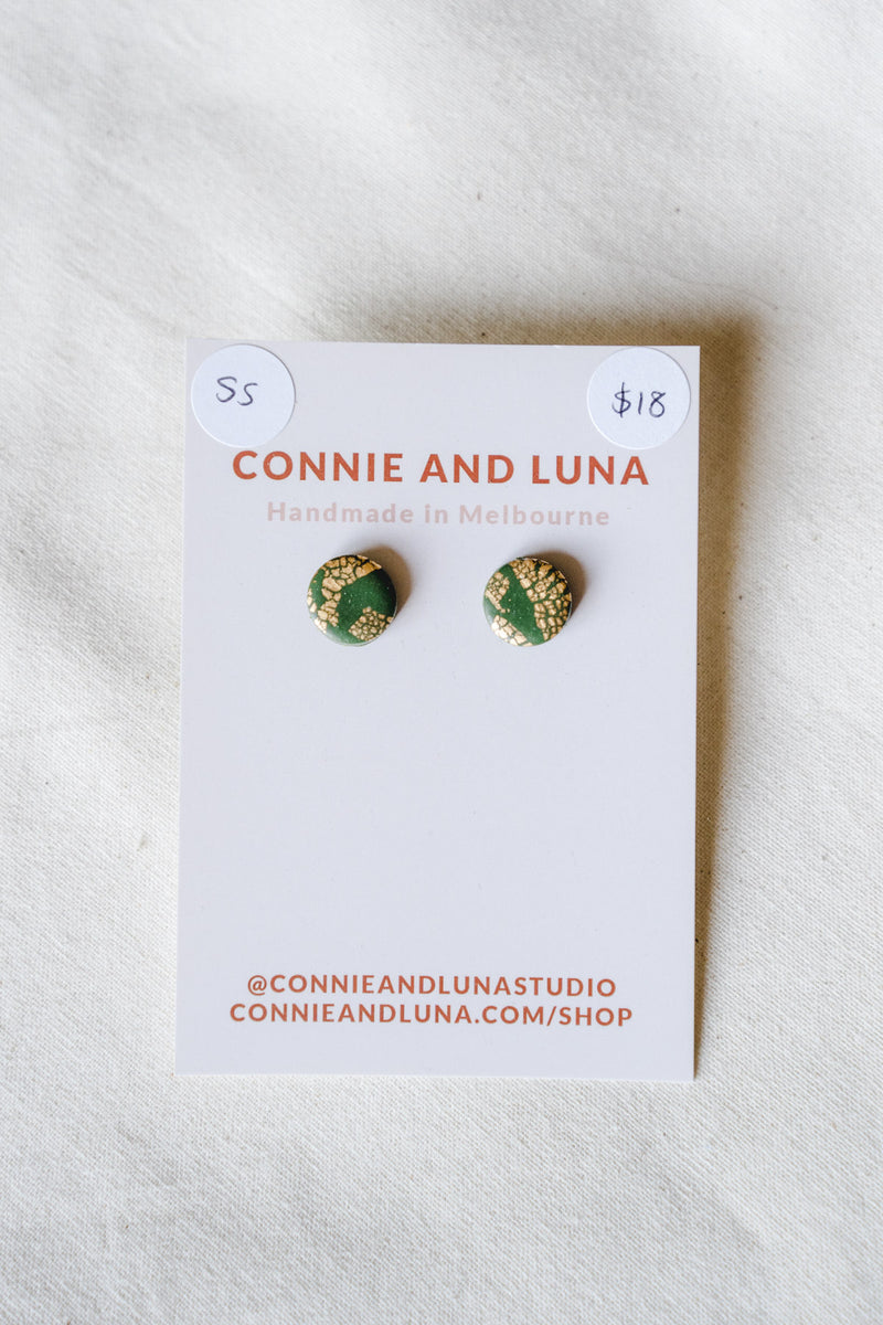 Galaxy stud earrings (forest green) [stirling silver posts]