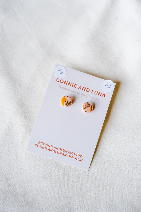 Galaxy stud earrings (pink + orange) [stirling silver posts]