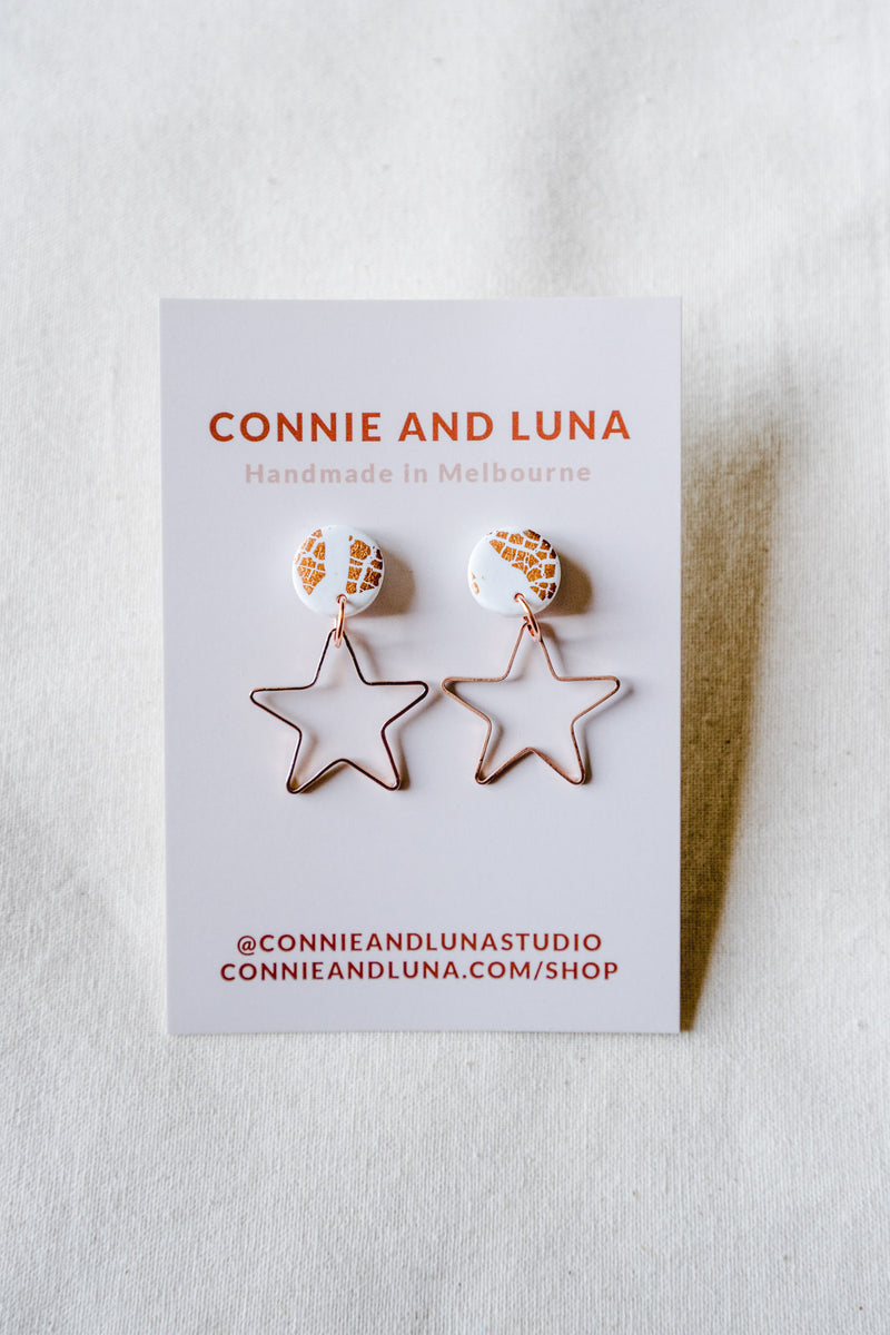 Star burst small dangle earrings (white + rose gold)