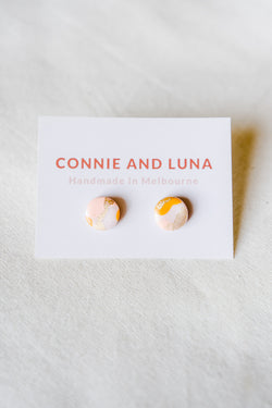 Galaxy stud earrings (pink + orange)