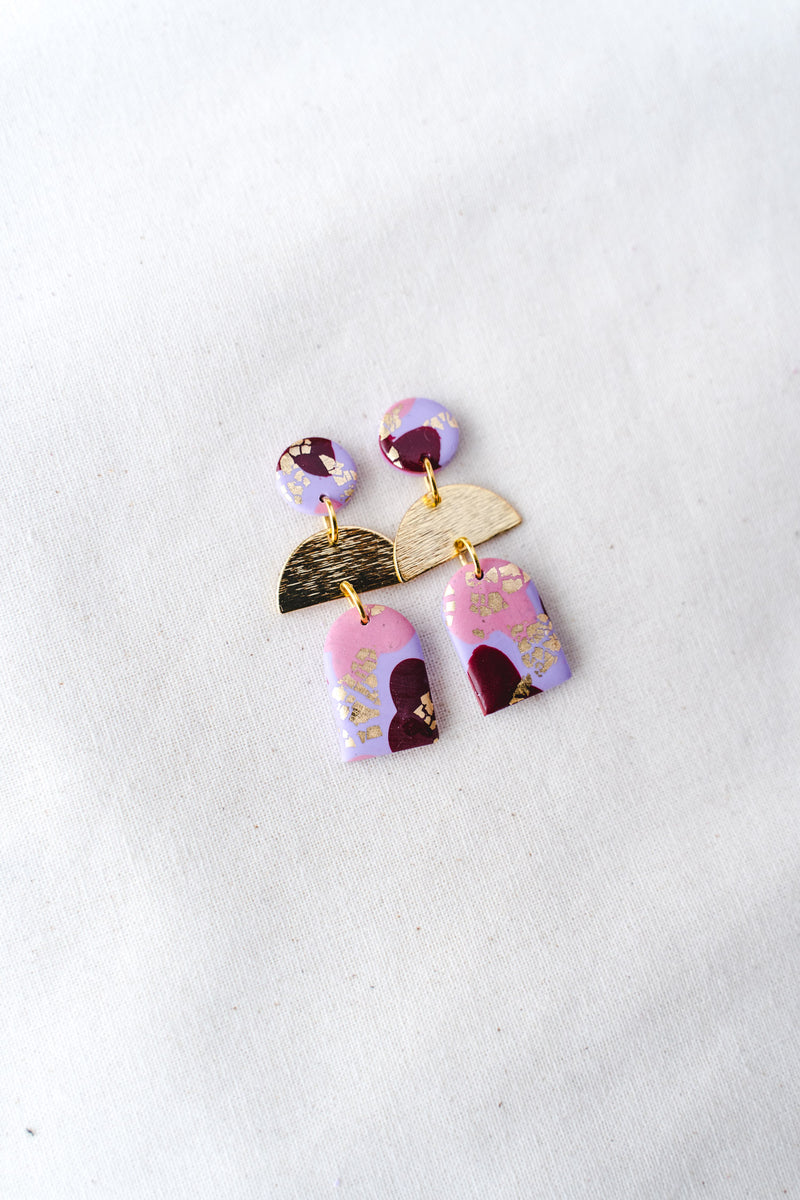 Dusk Dangle Earrings [gold plated] (lilac party)