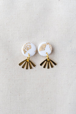 Dreamer gold small dangle earrings (white)